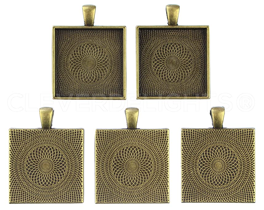 CleverDelights 10 Square Pendant Trays - Antique Bronze Color - 1 Inch - 25mm - Pendant Blanks Cameo Bezel Settings Photo Jewelry - Custom Jewelry Making - 1