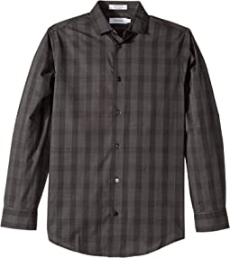 Calvin Klein Kids - End on End Plaid Stretch Long Sleeve Shirt (Big Kids)
