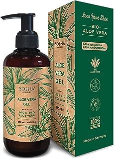 Aloe Vera Gel mit 100% Bio Aloe Vera   Frei von Alkohol & Parfüm   NATURKOSMETIK   Tierversuchsfrei   Feuchtigkeitspflege von SoenaNaturals   After Sun - 250ml - Made in Germany