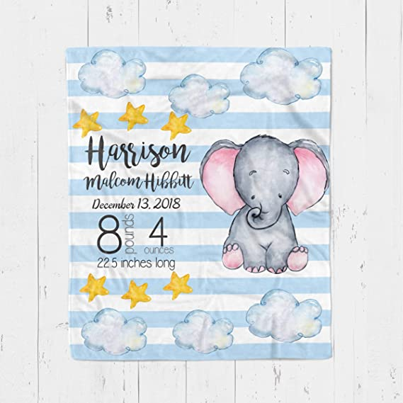 For boy or girl 379 Pink Newborn Baby Receiving Blanket with Custom Birth Information Birth date height time and weight