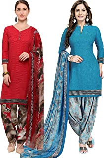 Rajnandini Women's Red and Light Blue Crepe Printed Unstitched Salwar Suit Material (Combo Of 2) (Free Size)