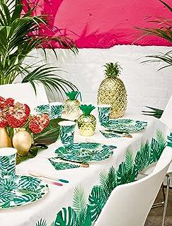 Talking Tables Tafelkleed van groen tropisch palmblad .Papieren rechthoekig tafelkleed, Wegwerpservies voor Hawaiiaans ver...