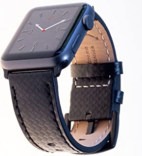 Carterjett Compatible with Apple Watch Band XL Leather 44mm 42mm Carbon Fiber Dress iWatch Bands Replacement Strap Extra Large for iWatch Series 4 3 2 1 Hermes Edition Sport (42 44 XXL Black)