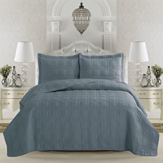 Home Fashion Designs Terra Collection 3-Piece Luxury Quilt Set with Shams. Soft All-Season Microfiber Bedspread & Coverlet in Solid Colors with Embroidered Box Design Brand. (King, Citadel Blue)