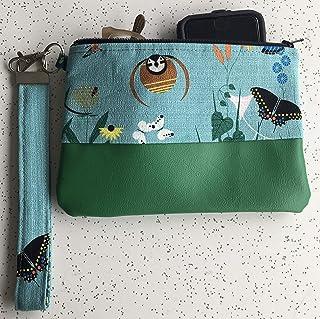 Boho eclectic vegan wallet,water resistant zipper pouch in greens.