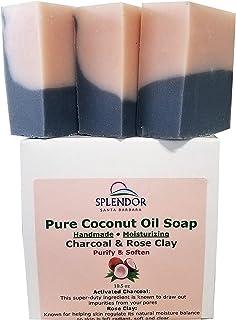 Splendor Activated Charcoal & Rose Clay Spa Face & Body Bar Soap - Pure Coconut Oil Soap. Handmade, Vegan, Natural, Moistu...