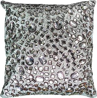 "Rizzy Home Throw Pillow, PILT05936GY001212, Silver, 12""x12"""