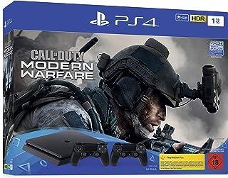 PlayStation 4 Slim inkl. 2 Controller und Call of Duty: Modern Warfare - Konsolenbundle (1TB, schwarz, Slim) [Importación alemana]