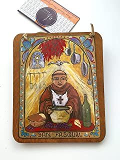 Retablo San Pasqual Gift for your Cook chef baker Food Gift San Pasquale foodie gift Kitchen saint of chefs 5 x 6 inch yellow blue red icon