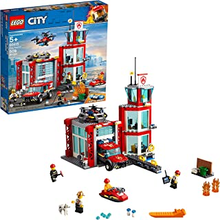 LEGO City Fire Station 60215 Fire Rescue Tower Building Set with Emergency Vehicle Toys includes Firefighter Minifigures for Creative Play (509 Pieces) (Renewed)