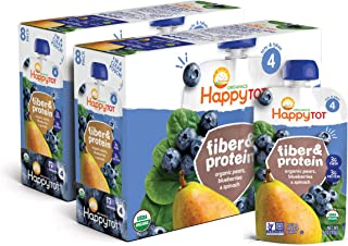 Happy Tot Organic Stage 4 Fiber & Protein, Pears, Blueberries & Spinach, 4 Ounce (Pack of 16)