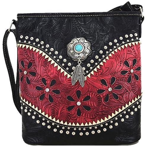 Women/'s Wallet Rhinestones Cross  Butterfly Checkbook Design Western Purse Red