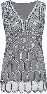 Women Vintage V Neck Tank Tops Loose Flashy Sequin Sparkly Vest Tops