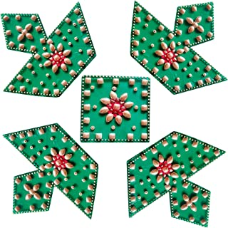 RUCI STORE Diwali Acrylic Rangoli Floor Decorations Acrylic Diya Design Big Size with Studded Stones and Sequins, Traditional Festive Home Décor (Green)