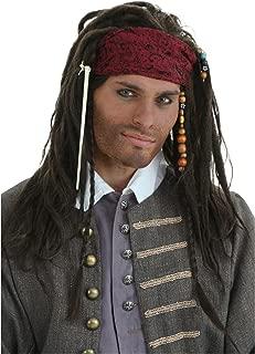 Adult Realistic Pirate Wig Braided Caribbean Buccaneer Costume Wig Standard