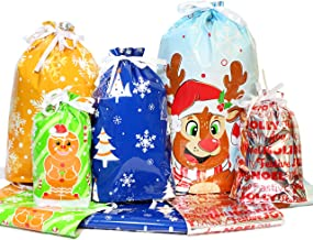 4 Sizes Christmas Drawstring Gift Bags, Goodie Bags with 5 Fascinating Designs with 36 pcs Bags per Pack (XL*4; L*5; M*9) ...