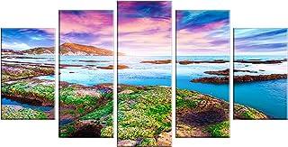 Designart MT14562-373 Metal Wall Art, 60x32-5 Panels Diamond Shape, Green