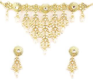 Touchstone Indien Bollywood Traditionnel Th/ème Floral Strass Blanc et Bleu Saphir synth/étique de Mariage Ensemble de Bijoux Design Collier pour Femme en Ton dor/é Antique