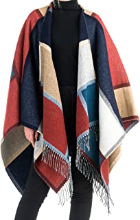 Angiola Made in Italy Women Wool Patchwork Cape Poncho Wrap Elegant Warm Comfy Stylish