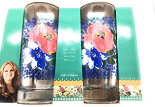 Pioneer Woman 16oz Melody Glass Cooler Set Drinking Cups Tumbler Floral