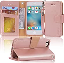 Arae Case for iPhone SE/iPhone 5s, Premium PU Leather Wallet case [Wrist Strap] Flip Folio [Kickstand Feature] with ID&Credit Card Pockets for iPhone SE / 5S / 5 - Rosegold