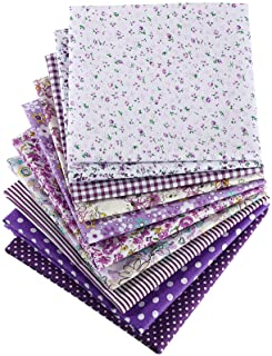 10 Pieces 20 x 20 Inch Quilting Patchwork Fabric Floral Patchwork Purple Fabric DIY Handmade Sewing Quilting Fabric in Dif...