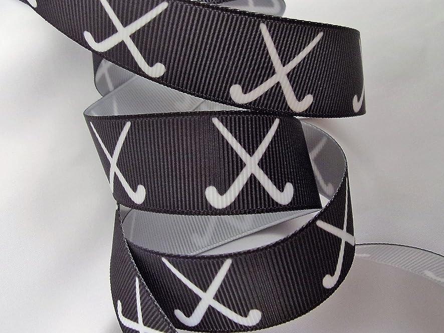 Grosgrain Ribbon - Black Field Hockey Print - 7/8