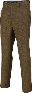 Xposed Mens Tweed Trousers Vintage Herringbone Checks Slim Fit Grey Brown Green MOD Retro Suit Pants [Oak Brown,Waist 44]