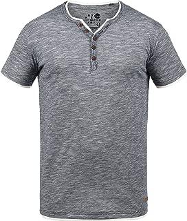 !Solid Thai T-Shirt A Maniche Corte Maglietta da Uomo con Collo Grandad in Cotone 100/%