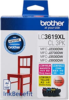 Brother LC3619CL3PK Original Ink Cartridge Compatible with MFC Series, 1500 Pages, Magenta/Cyan/Yellow (Set of 3)
