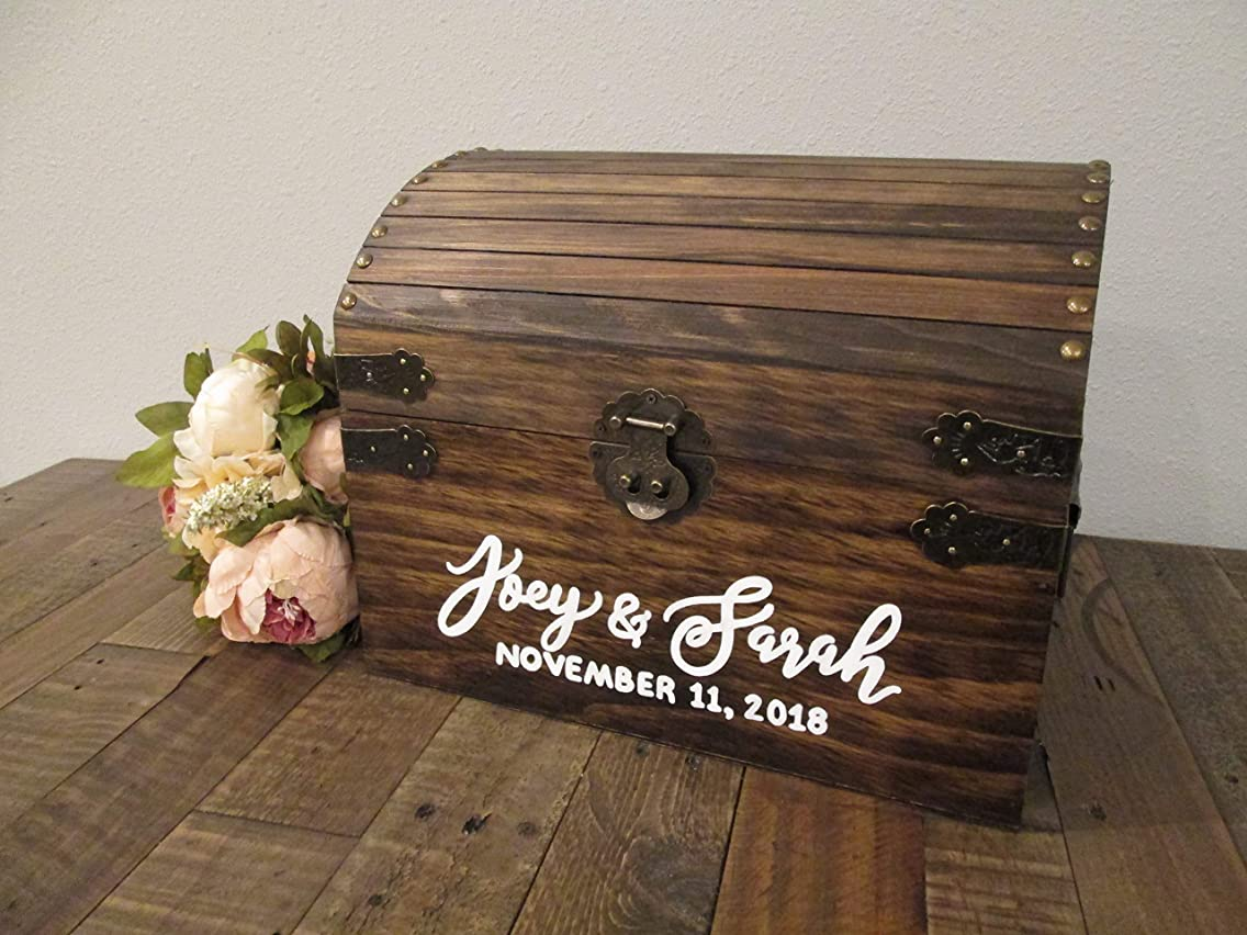 Personalized wedding card chest with slot- custom wedding card box - wedding card holder - wedding keepsake trunk - keepsake chest - rustic wedding decor