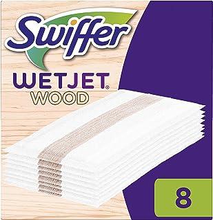 Swiffer Wetjet Wood Recharges Lingettes Balai Spray pour Tous Types de Sols - 8 unités