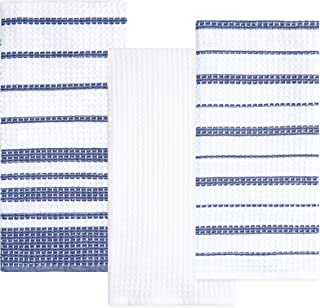 Sticky Toffee Cotton Waffle Weave Kitchen Dish Towels   3 Pack Kitchen Towels   28 in x 16 in   Absorbent Towels   Drying Towels   Cleaning Towels   Blue