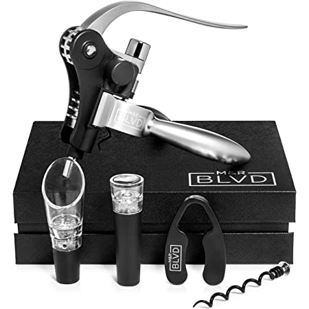 M&R Blvd.Rabbit wine bottle opener set including aerator, pourer, vacuum stopper, foil cutter, and extra spirals - corkscrews - wine opener set - vino lever screwpull - wine gift set -wine tools set