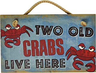 New Vintage Wood Hanging Wall Sign Two Old Crabs Live Here Distressed Plaque Cozy Beach Cottage Decor Art