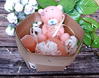 Soap set peach bear and two hearts - cute baby gift