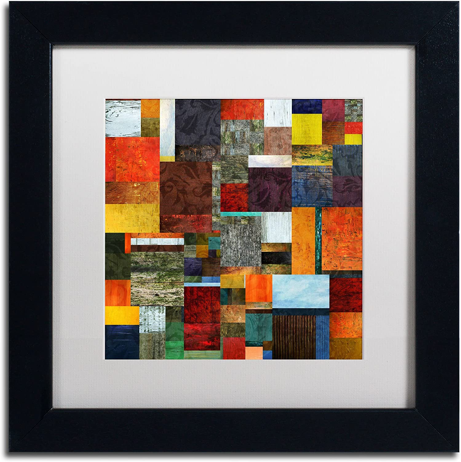 Trademark Fine Art Brocade color Collage 2 White Matte Artwork by Michelle Calkins, 11 by 11Inch, Black Frame