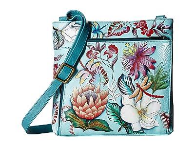 Anuschka Handbags Crossbody with Front RFID Built in Wallet 651 (Jardin Bleu) Cross Body Handbags