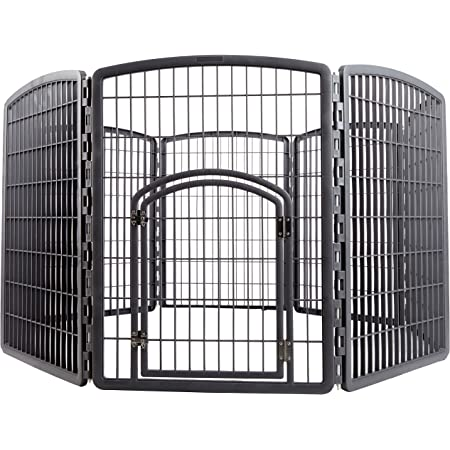IRIS Exercise 8 Panel Pen Panel Pet Playpen with Door - 34 Inch, Gray