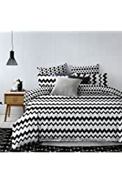 S/ábana Bajera Ajustable Rhombusesb2 220 X 240 Color Blanco y Negro poli/éster DecoKing Premium 30 cm, Microfibra, colecci/ón Hypnosis