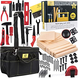 Kids Tool Set Building Toys Creative Educational Learning Toys STEAM STEM Toys for Boys and Girls Engineering Construction Toy Tools Kit 18 pcs of Foam Wood Pretend Play Tools for Kids Real Tool Bag