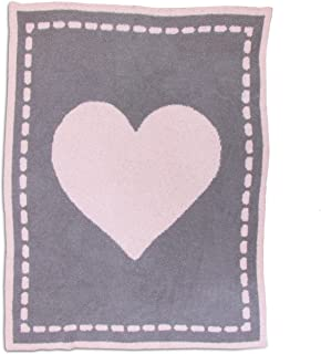 Living Textiles Super Soft & Cozy Chenille Blanket with Pink Heart. Knitted Poly Microfiber Baby Blanket (40x30 inch)