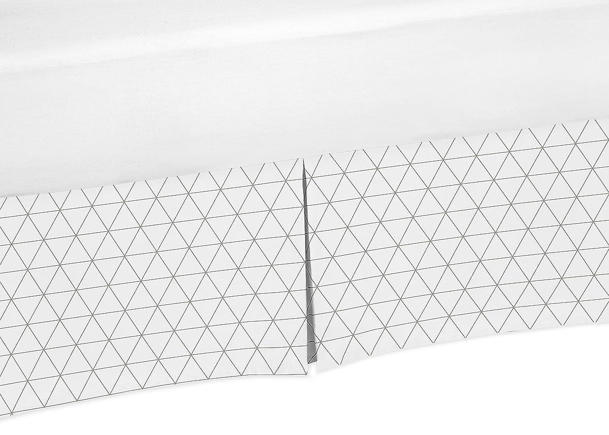 困難転送大騒ぎSweet Jojo Designsグレーとホワイト三角形プリーツクイーンベッド用フリル付きスカートDust for Modジャングルコレクション
