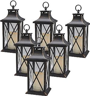 "YAKii 14"" Decorative Candle Lantern LED Flameless Candle Timer, Plastic LED Candle & Holder, Indoor & Outdoor Hanging Ligh..."