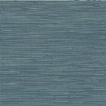 NuWallpaper Brewster NU2874 Steel Blue Grassweave Peel & Stick Wallpaper, Navy