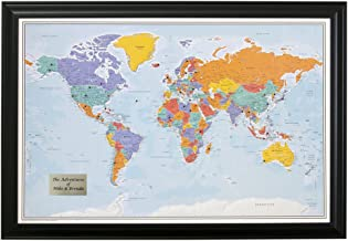Personalized Push Pin World Travel Map with Black Frame and Pins - Blue Oceans - 27.5 inches x 39.5 inches