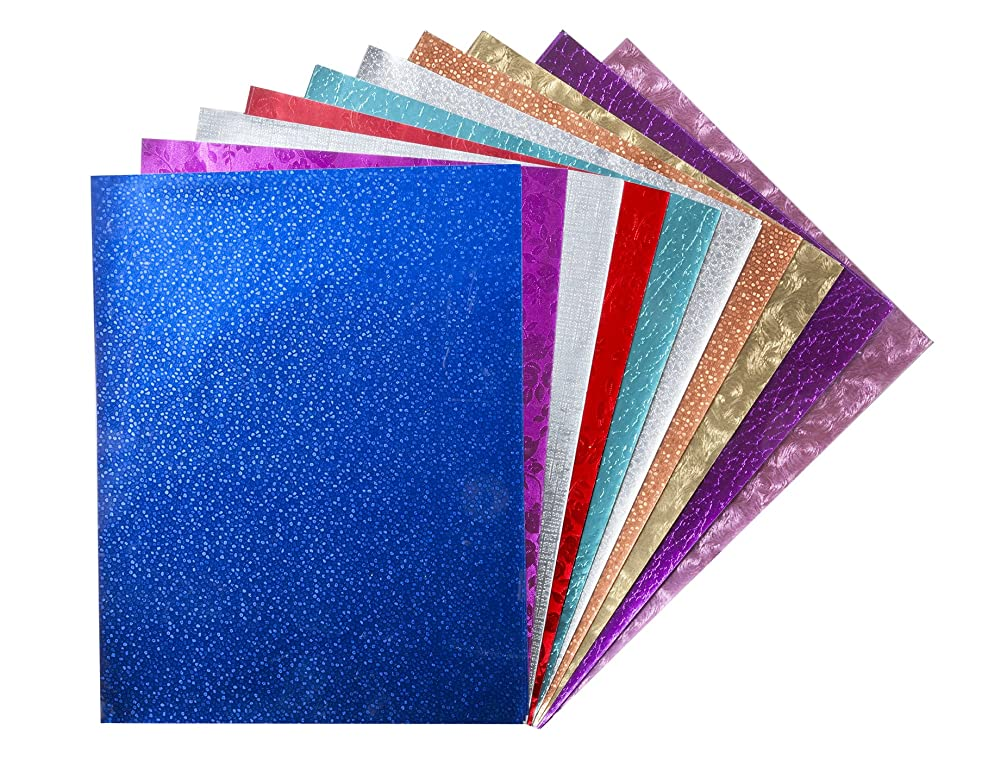 Hygloss Products Embossed Metallic Foil Paper Sheets – Assorted Colors And Designs - 8.5 x 10 Inch, 30 Pack