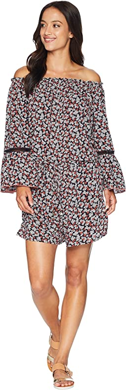Mini Cherry Blossoms Off the Shoulder Romper Cover-Up w/ Inset Ladder Trim