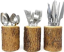 Silverware Holder in Natural Wood Bark Utensil Flatware Organizer for Rustic Kitchen Farmhouse Decor and Restaurant Tables...