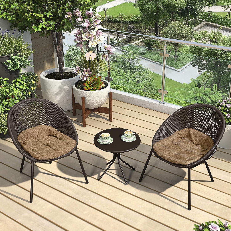 PURPLE Ranking TOP11 LEAF online shop 3 Pieces Patio Furniture Set Outdoor Bistro Se Table